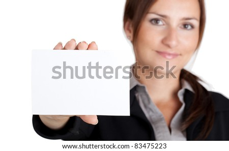 Young businesswoman holding business blank card. - stock photo