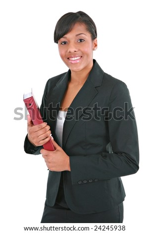 Young Businesswoman Holding Folders on Isolated White Background - stock photo