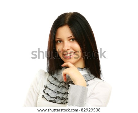 Young businesswoman holds her finger at her chin, looking at the camera, studio shoot isolated on white background - stock photo