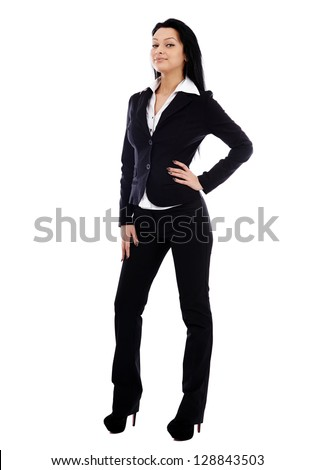 Young businesswoman in full length pose isolated on white background. Hand in waist. Business concept - stock photo