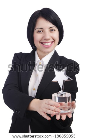 Young businesswoman isolated on the white - stock photo