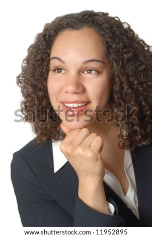 Young businesswoman looking up in wonder and excitement - stock photo