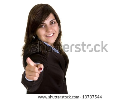 young businesswoman pointing to you isolated on white background - stock photo