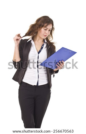 Young Businesswoman Reading Documents. - stock photo