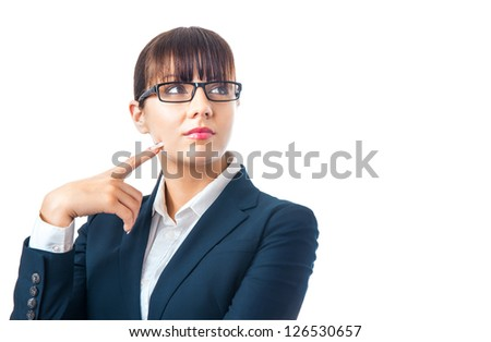 Young businesswoman thinking and looking sideways, isolated on white - stock photo
