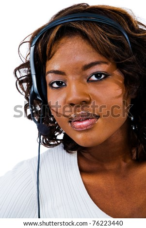 Young businesswoman wearing headset isolated over white - stock photo