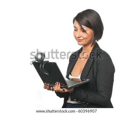 Young businesswoman with a laptop - stock photo