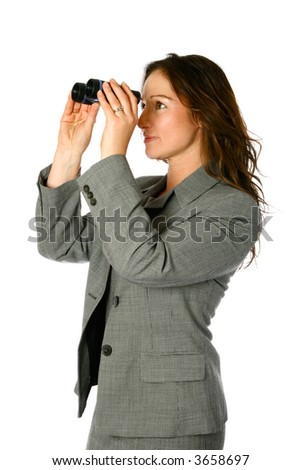 Young businesswoman with binocular looking up towards future, isolated on white. - stock photo