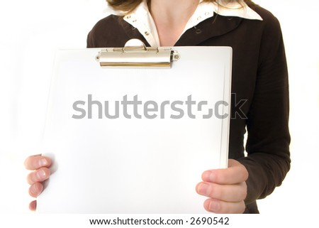 YOUNG BUSINESSWOMAN WITH CLIP BOARD - stock photo