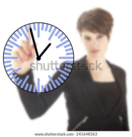 Young businesswoman with clock isolated on white background - stock photo