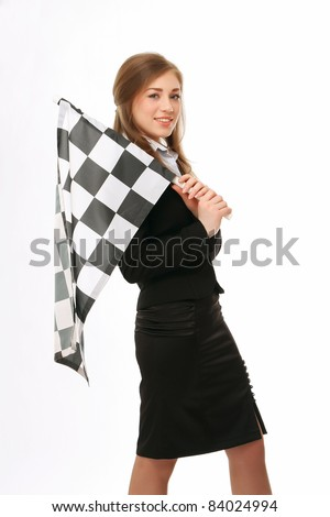 Young businesswoman with finish flag isolated - stock photo