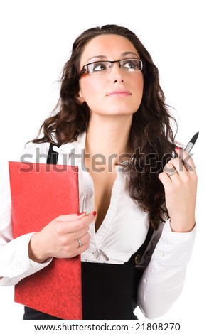 Young businesswoman with folder. Isolated on white. - stock photo