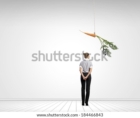 Young businesswoman with papers running in a hurry - stock photo