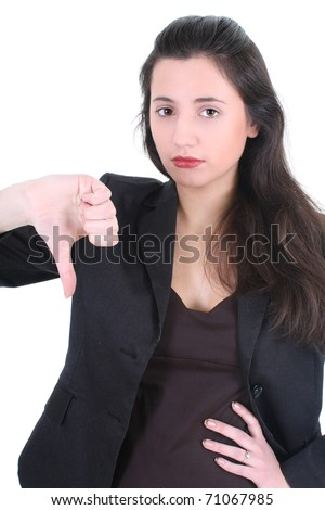 Young businesswoman with thumbs down sign over white - stock photo