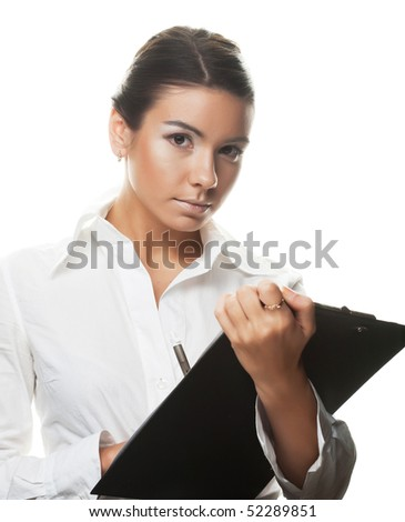 young businesswoman write. - stock photo