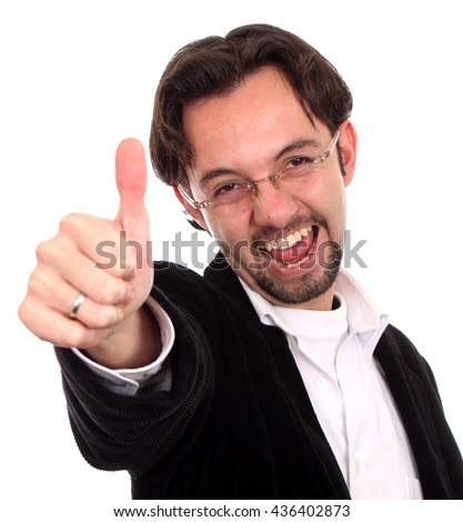 Young bussines man show an ok sign - stock photo