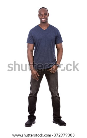 young casual black man wearing blue tshirt on white background - stock photo