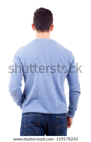 Young casual man from back, isolated on white - stock photo