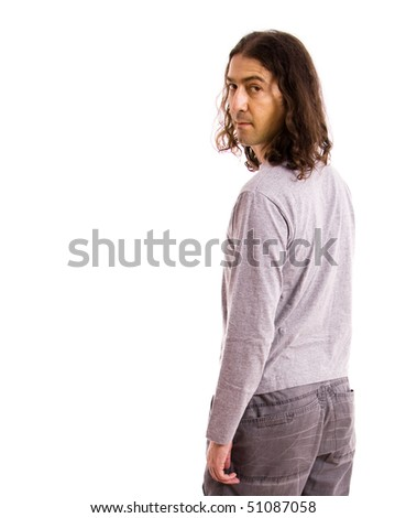 young casual man from the back, isolated on white - stock photo