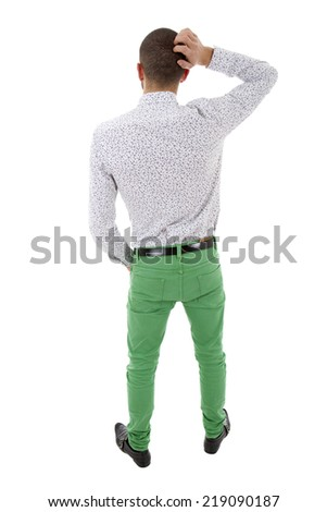 young casual man from the back thinking, full body, isolated - stock photo