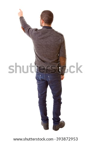 young casual man full body, pointing, isolated on a white background - stock photo