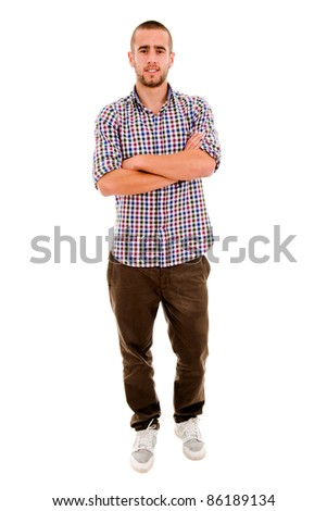 young casual man full body standing with arms crossed against white background - stock photo