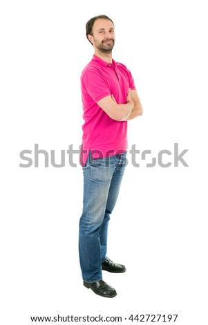 young casual man full length in a white background - stock photo