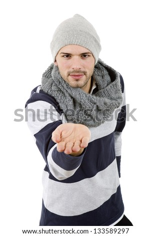 young casual man offering his hand, isolated on white - stock photo