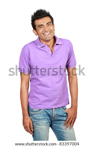 young casual man portrait, isolated on white background - stock photo