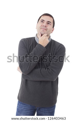 young casual man thinking - stock photo
