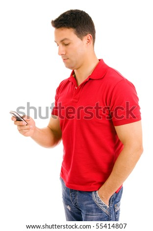 Young casual man using cellphone, isolated on white - stock photo