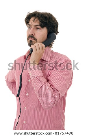 Young casual man using retro phone - stock photo