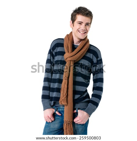 young casual man with scarf in a white background - stock photo