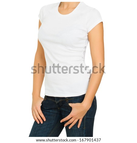 Young casual style woman with a blank white t-shirt isolated on a white background - stock photo