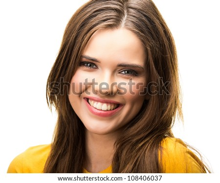 Young casual woman portrait isolated on white background. Yellow dressed. Happy girl close up face - stock photo