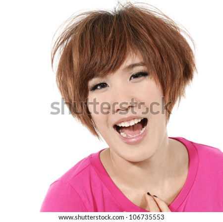 Young casual woman style isolated over white background. studio close up portrait. - stock photo