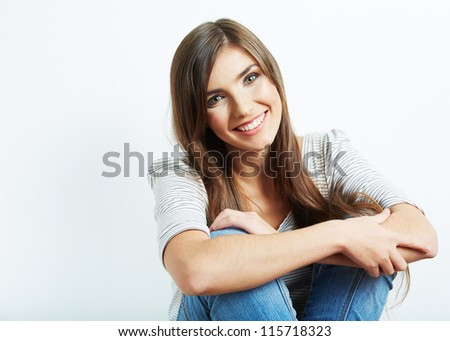 Young casual woman style isolated over white background. studio portrait female model.  Beautiful smiling happy girl. - stock photo