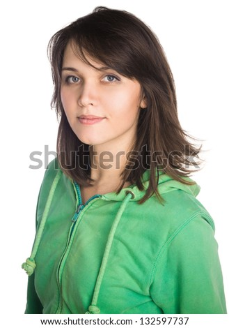 Young casual woman style portrait - stock photo