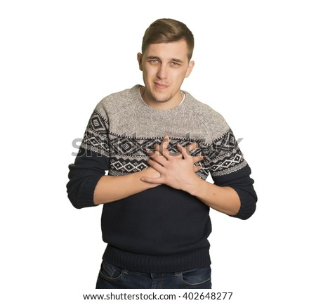 Young caucasian boy  touching his chest with pain - stock photo