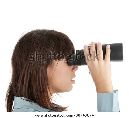 Young caucasian business woman looking through binocular isolated on white background - stock photo