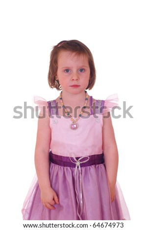 Young caucasian girl in pink purple princess dress, isolated against background - stock photo