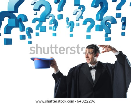 young caucasian magician and 3d question mark - stock photo