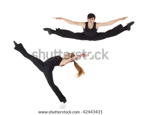 Young caucasian Modern Jazz dancers in a black top and black pants on a white background displaying various positions. NOT ISOLATED - stock photo