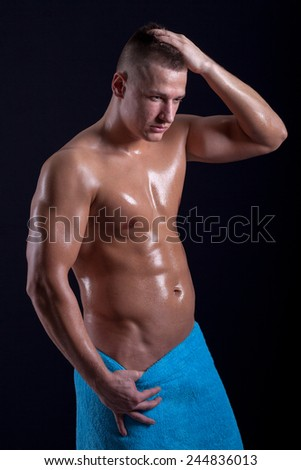young caucasian sexy muscled attractive handsome man  - stock photo