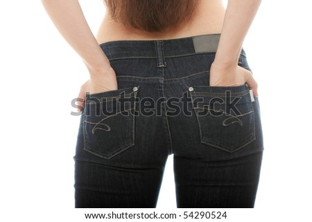 Young caucasian woman body in jeans, isolated on white - stock photo