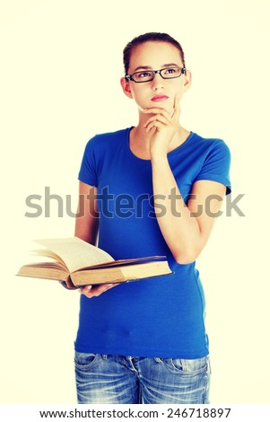 Young caucasian woman student with book. - stock photo