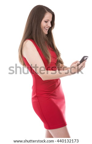young caucasian woman using her mobile phone on white background - stock photo