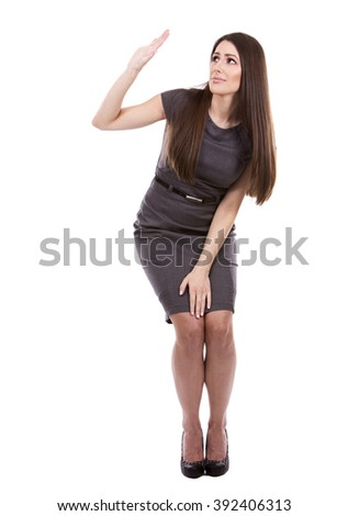young caucasian woman wearing business dress on white background - stock photo