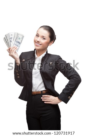 young cheerful caucasian brunette businesswoman in black suit holding money isolated on white - stock photo