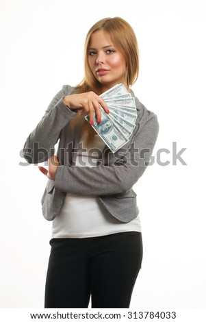 young cheerful caucasian businesswoman in suit holding money isolated on white - stock photo